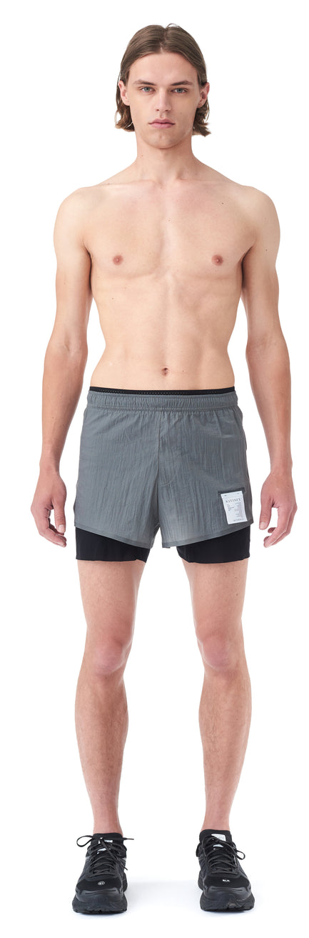 "Long Distance 3"" Shorts - STEEL - Silhouette-Front"