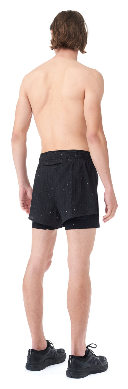 "Short Distance 3"" Shorts - BLACK SPLATTERED - Silhouette-Back"
