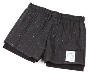 "Short Distance 3"" Shorts - BLACK SPLATTERED - Frontside"