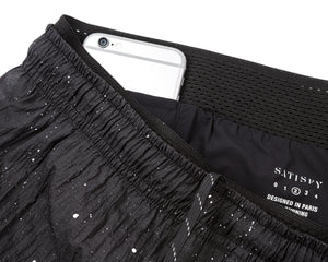 "Short Distance 3"" Shorts - BLACK SPLATTERED - Phone-pocket"