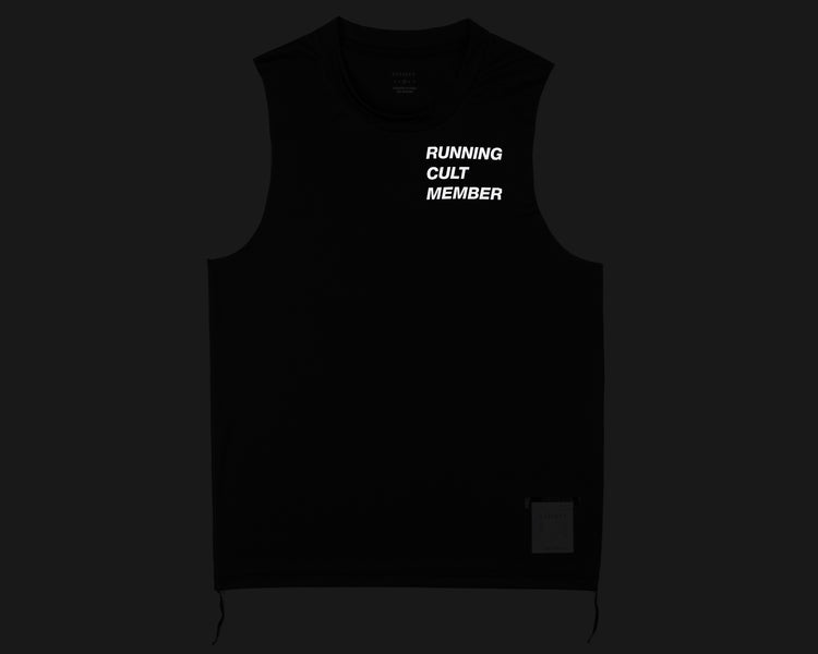 Light Muscle Tee - Running Cult Member - Black - Front Reflective