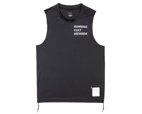 Light Muscle Tee - Running Cult Member - Black - Front