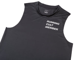 Light Muscle Tee - Running Cult Member - Black - Front Side
