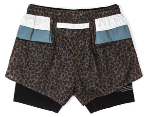 "Trail Long Distance 3"" Shorts - LEOPARD - Back"