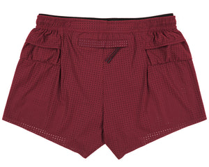 "Long Distance 2.5"" Shorts - BURGUNDY - Back"