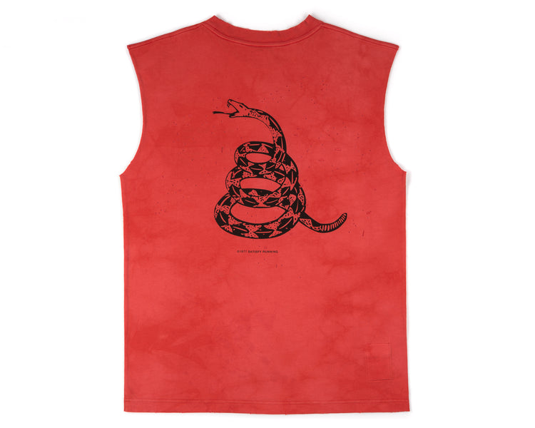 Moth Eaten Muscle Tee - BLEACH RED - Back