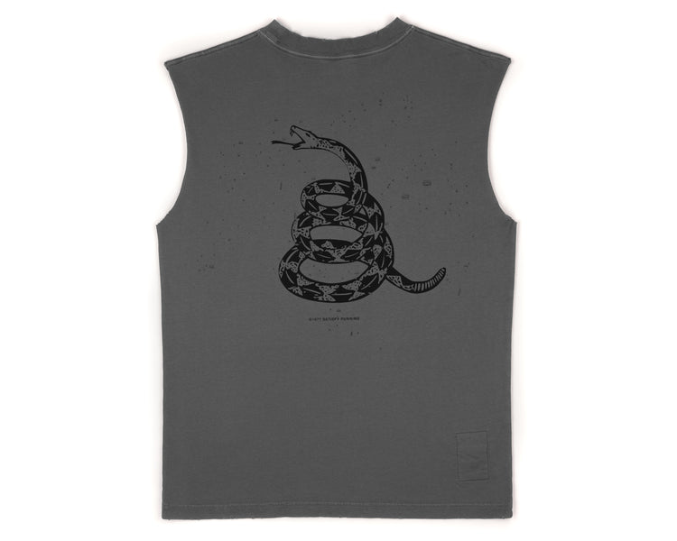 Moth Eaten Muscle Tee - SHADOW - Back