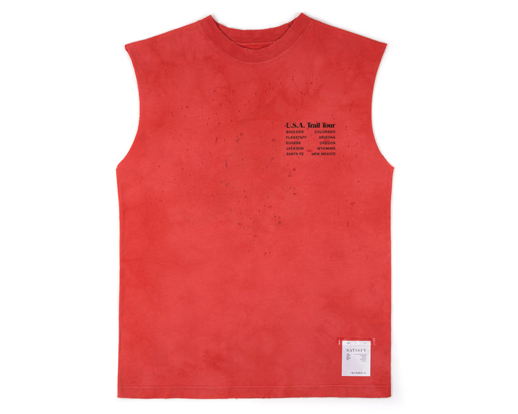 Moth Eaten Muscle Tee - BLEACH RED - Front