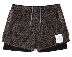 "Trail Long Distance 3"" Shorts - LEOPARD - Front"