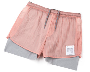 "Trail Long Distance 3"" Shorts - CORAL PINK - Frontside"