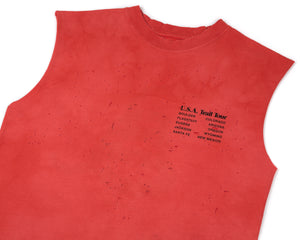Moth Eaten Muscle Tee - BLEACH RED - Frontside