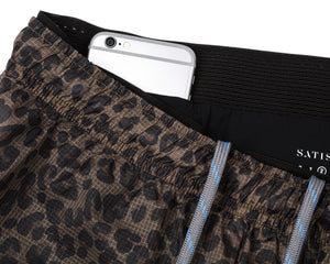 "Trail Long Distance 3"" Shorts - LEOPARD - Phone pocket"