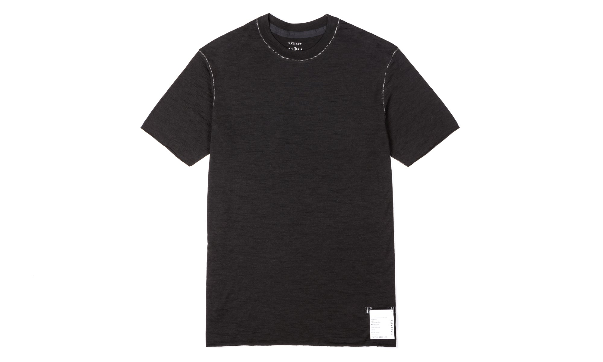 Cloud Merino 100 Tee Shirt - Black - Front
