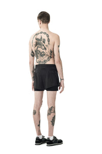 "Short Distance 3"" Shorts - Black Silk - Model back"