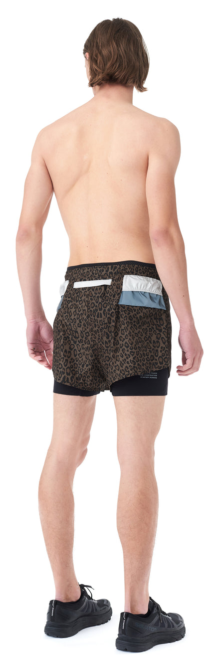 "Trail Long Distance 3"" Shorts - LEOPARD - Silhouette back"