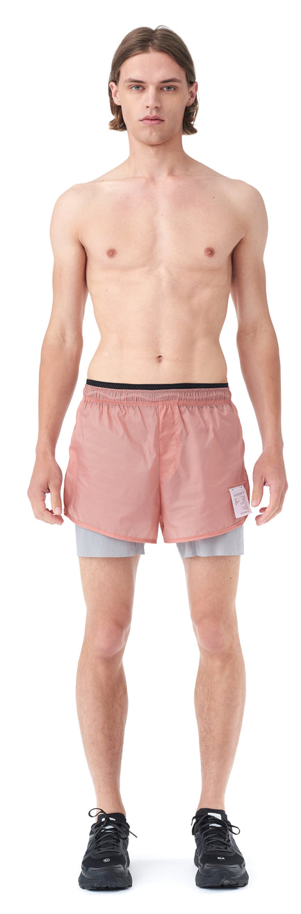 "Trail Long Distance 3"" Shorts - CORAL PINK - Silhouette front"