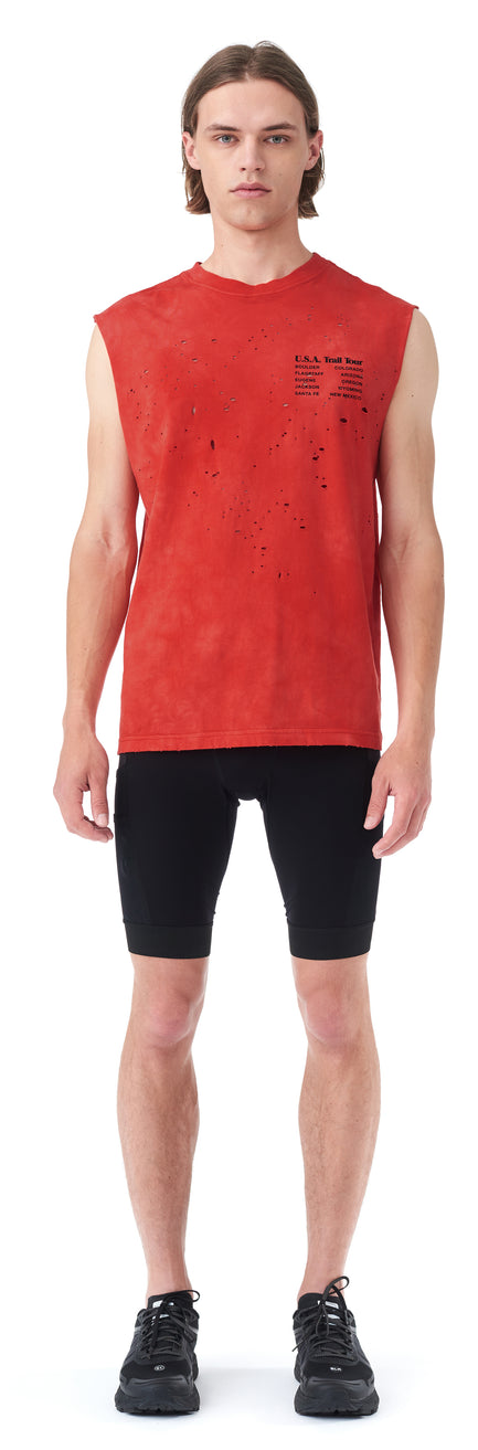 Moth Eaten Muscle Tee - BLEACH RED - Silhouette front
