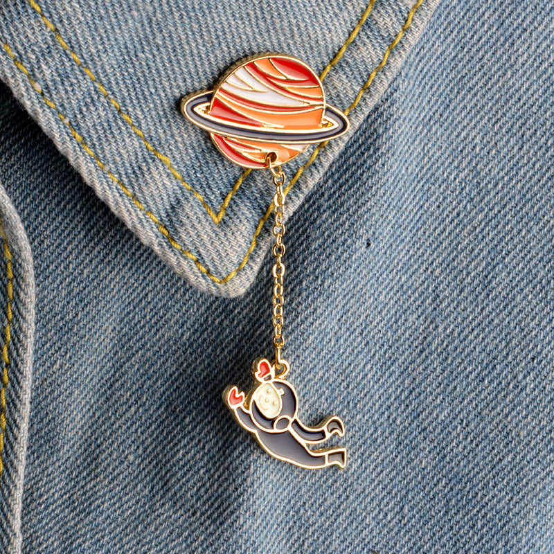 Astronaut & Bunny in Orbit Pin-Jewelry-Qponer