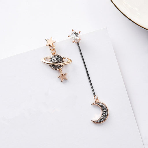 Saturn & Moon Asymmetric Earring-Jewelry-Qponer