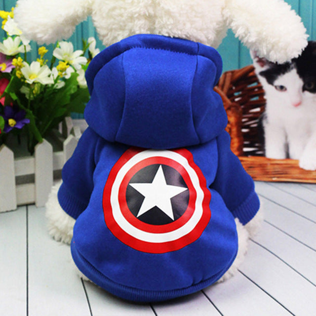 """Captain America"" Dog Hoodie-Pet Supplies-Qponer"