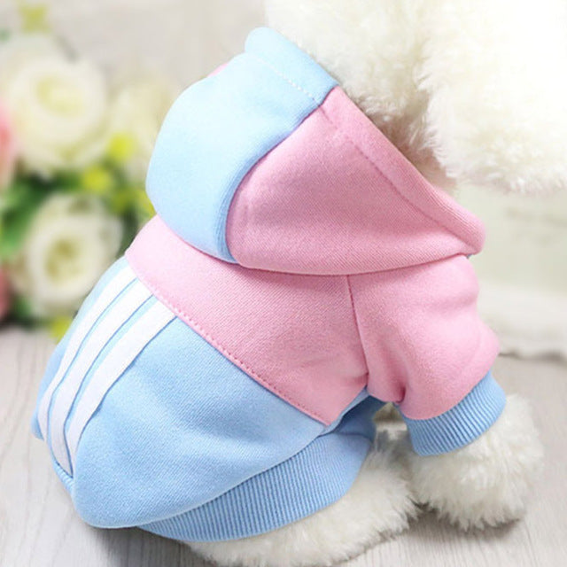 Casual Dog Hoodie in Blue and Pink-Pet Supplies-Qponer