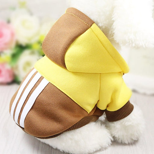 Casual Dog Hoodie in Brown and Yellow-Pet Supplies-Qponer