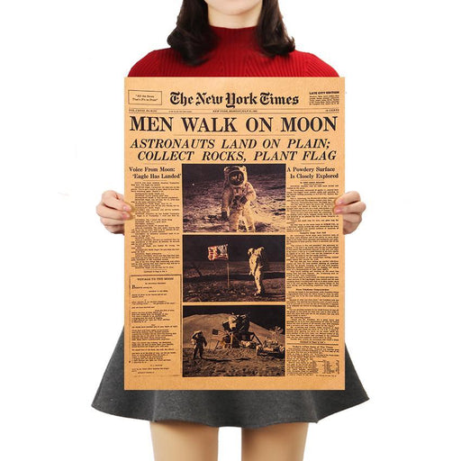 The New York Times Apollo 11 Moon Landing Vintage Poster-Wall Art-Qponer