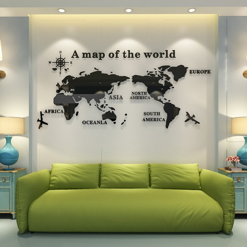 3D World Map Wall Sticker