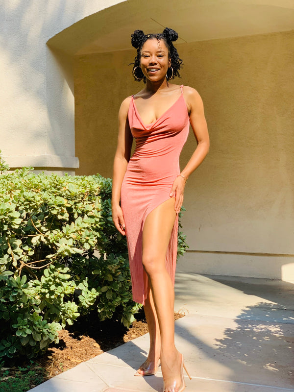 Out In A Split Dress - Mauve - Lavish Accessories & Shoe House