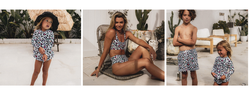 leopard print with a pops of pink, purple and blue colour for Infamous Swim