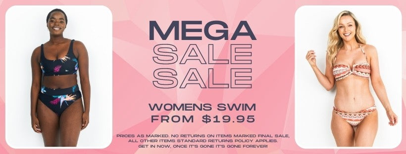 Infamous Swim mega sale is on now. Womens swimwear and accessories from $19.95