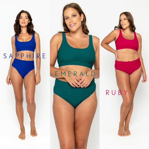 Our jewel swimwear collection profits will all be donated to charity, Share the Dignity.