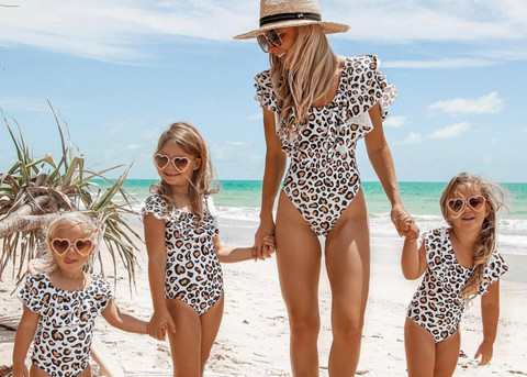 mum and mini swimwear family beach day leopard print bathers