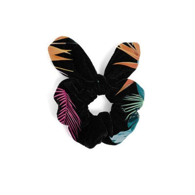 Black tropical floral print scrunchie for girls with cute bow tie detail