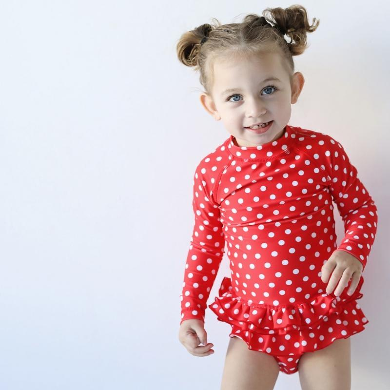 MINI ME ANNIE Rashie Set // Red Polka Dot