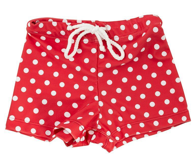 MINI BOYS HUGH Trunks // Red Polka Dots