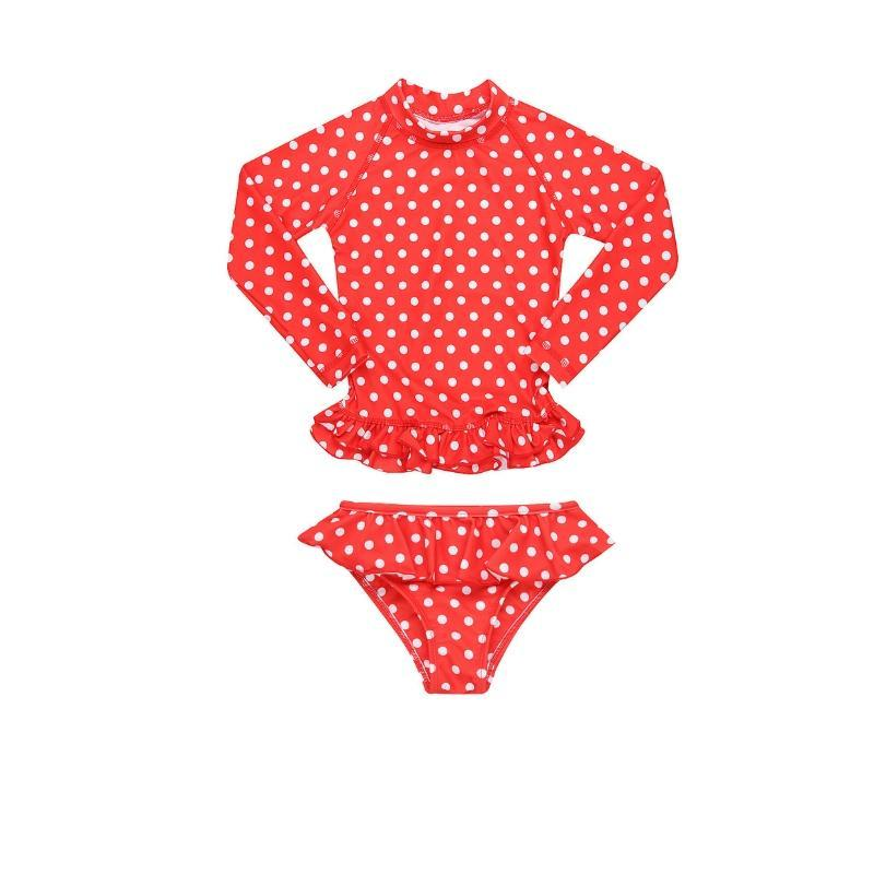 MINI ME ANNIE Rashie Set UPF50+ // Red Polka Dot