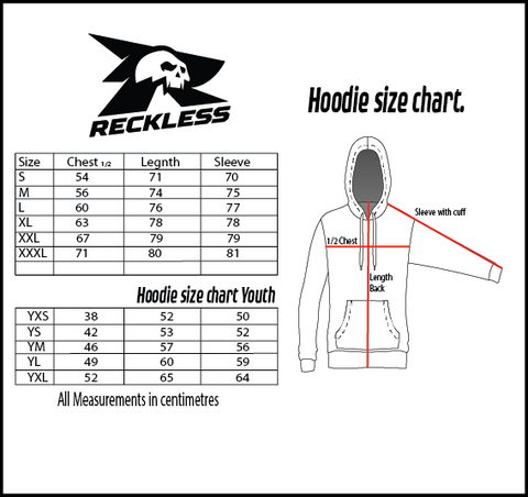 Reckless Hoodie Size Chart
