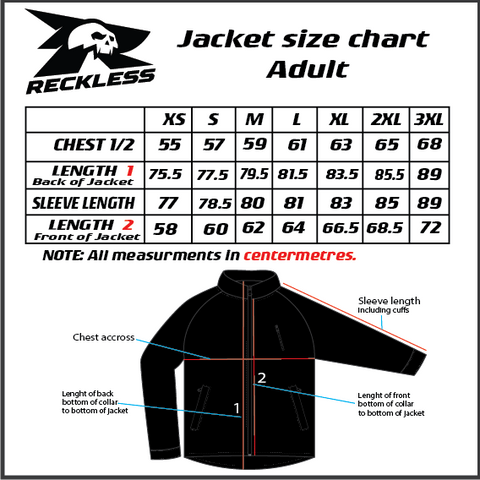 Reckless Spray Jacket Size Chart