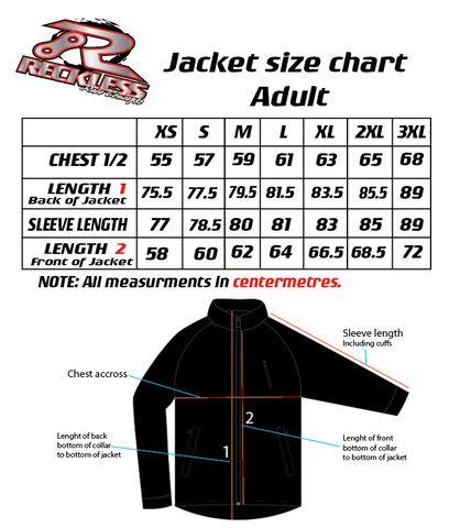 Reckless Race Concepts Jacket Size Chart