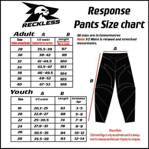 Reckless Response Pants Size Chart