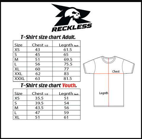 Reckless Tshirt Size Chart