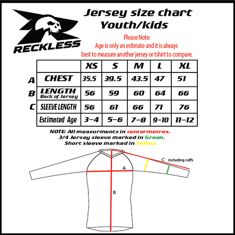 Reckless Youth Jersey size chart