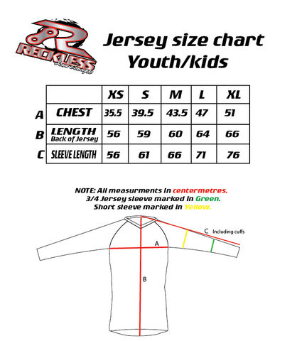 Reckless Race Concepts Youth Jersey Size Chart