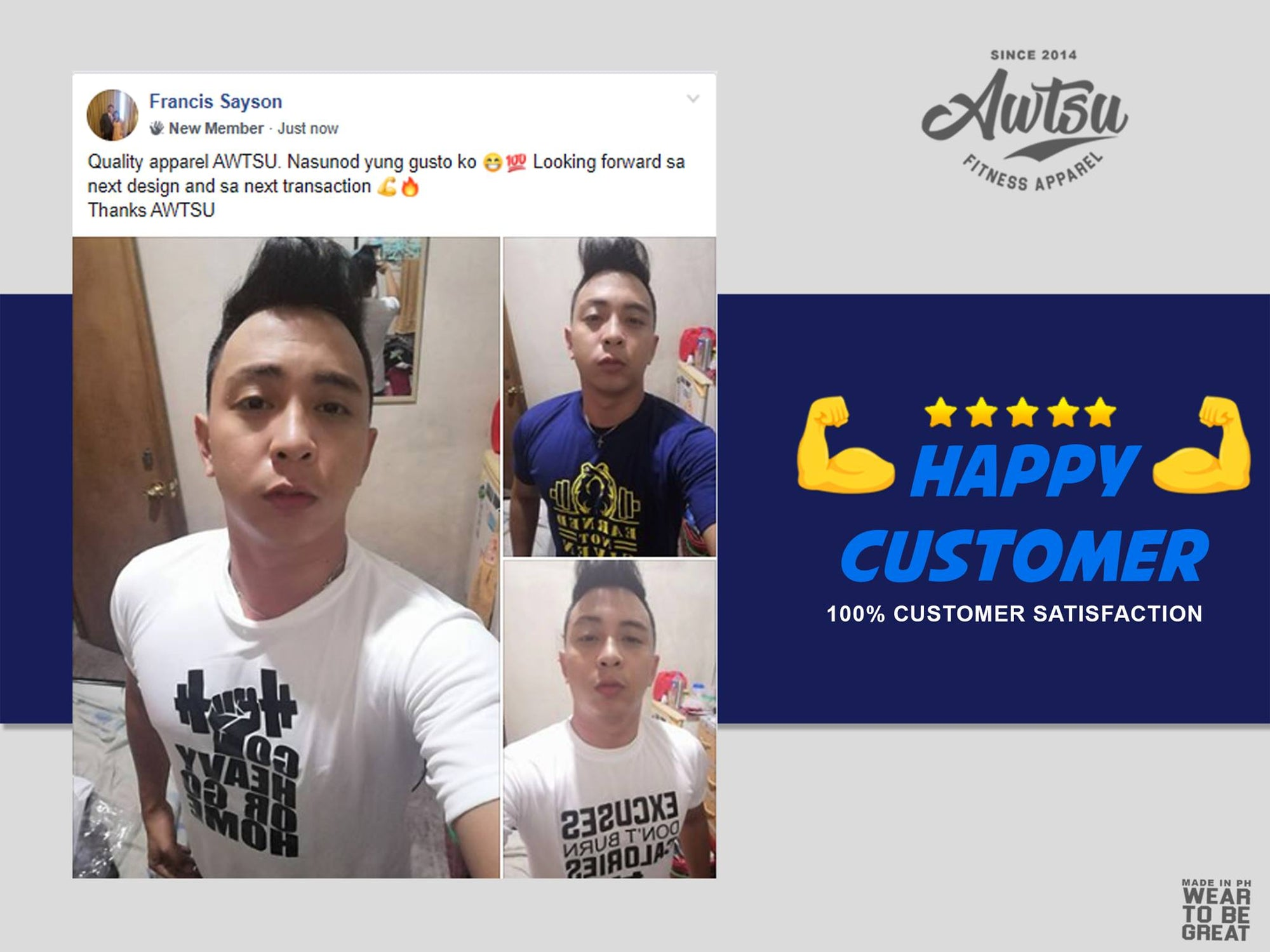 Francis Sayson 5 Star Review of Awtsu Fitness Apparel