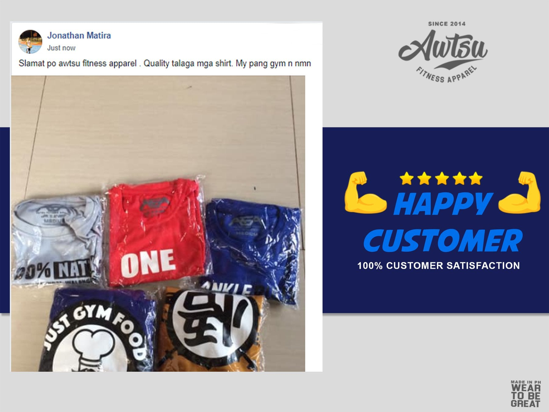 Jonathan Matira 5 Star Review of Awtsu Fitness Apparel
