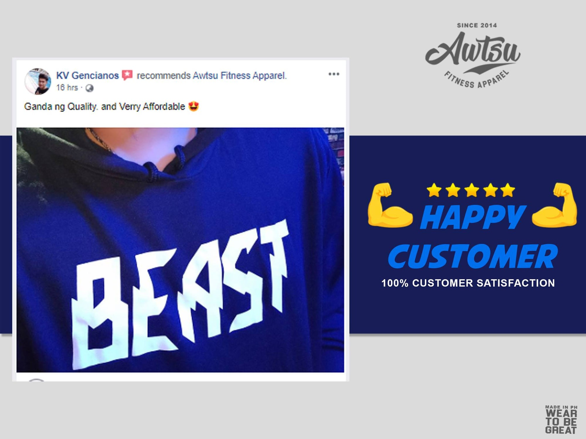 KV Gencianos 5 Star Review of Awtsu Fitness Apparel
