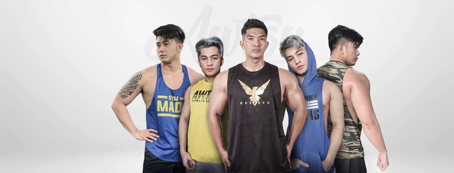 Awtsu Fitness Apparel, openside hoodies, openside sandos, tank tops, muscle tank tops, muscle t-shirt, squat shorts, joggers, gym stringers, sweat shorts and pull-over hoodies