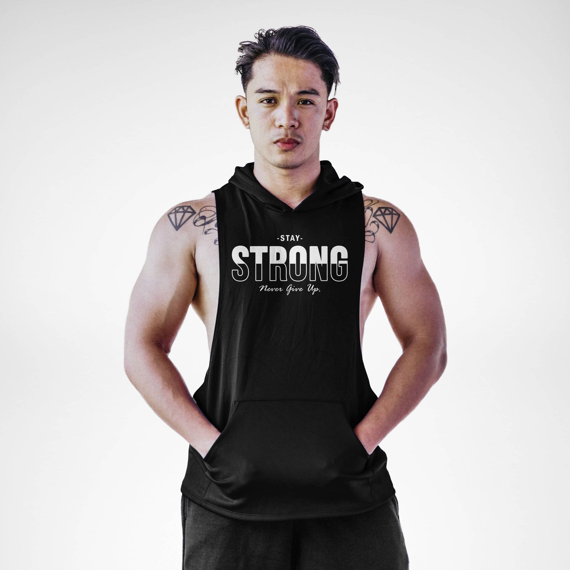 Stay Strong Never Give Up Sleeveless Hoodie