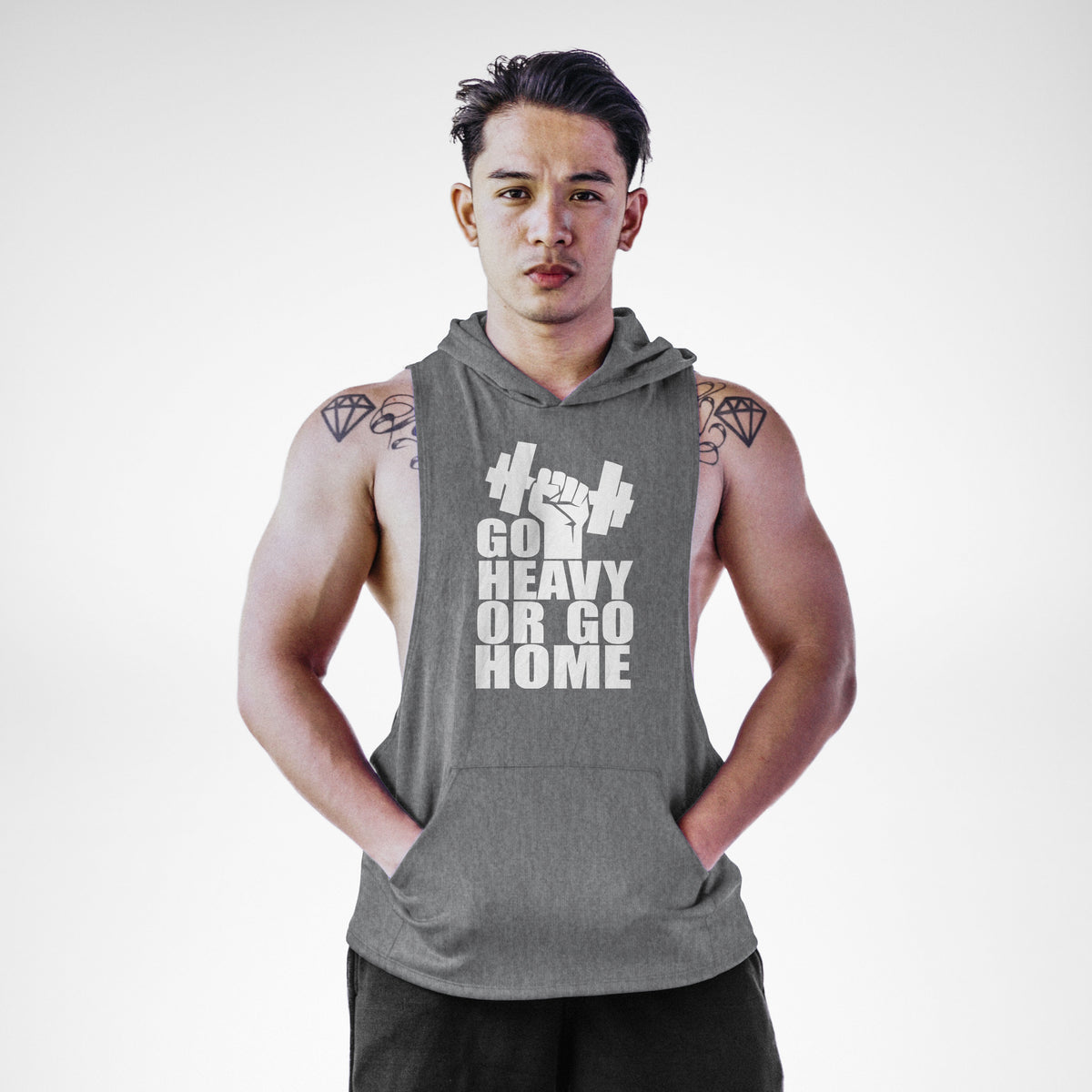 AH108 Go Heavy or Go Home Sleeveless Hoodie